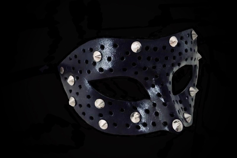 Fellini Borchie Leather Mask - Distressed Black
