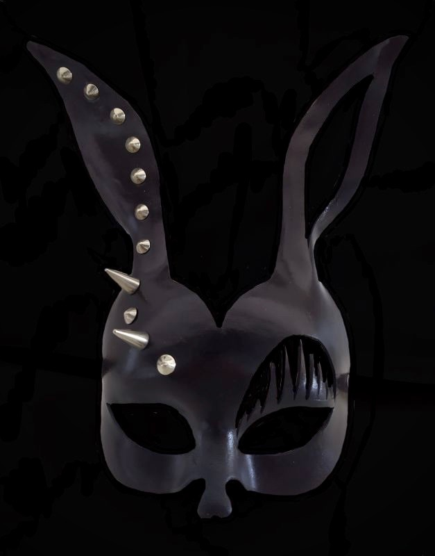 Black Leather Stud Bunny Girl Mask