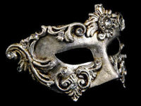 Barocco Luxury Venetian Masquerade Ball Mask - Silver