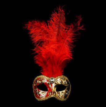 Mezza Venetian Feather Masquerade Mask - Red