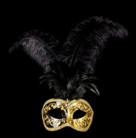 Mezza Venetian Feather Masquerade Mask - Black