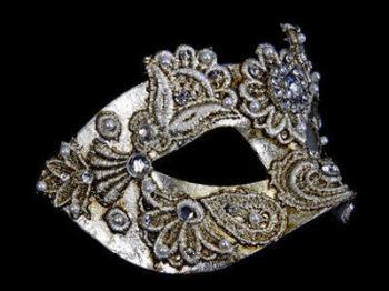 Macrame Luxury Masquerade Ball Mask - Silver