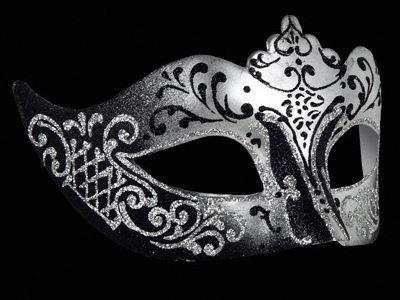 Stella Masquerade Mask - Silver Black
