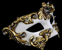Barocco Luxury Venetian Masquerade Ball Mask - Gold White