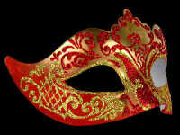 Stella Masquerade Masks - Gold Red