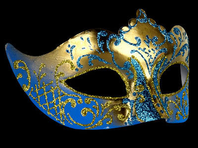 stella masquerade mask gold blue
