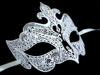 Fantasia Lady Filigree Venetian Masquerade Mask - Limited Edition White