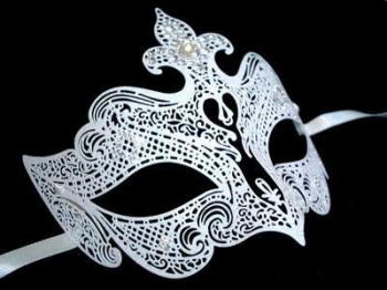 Fantasia Lady Filigree Venetian Masquerade Mask - Limited Edition White