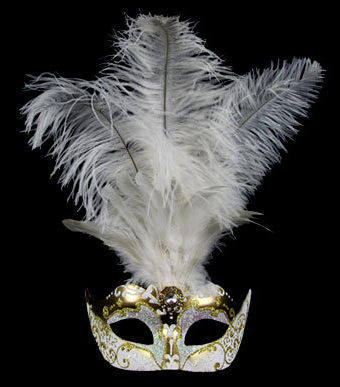 Stella Feather Venetian Masquerade Mask - Gold White