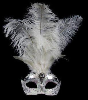 Stella Feather Venetian Masquerade Mask - Silver White