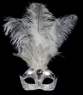 Stella Feather Venetian Masquerade Mask - Silver White