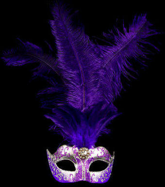 Stella Feather Venetian Masquerade Mask - Silver Purple