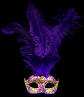Stella Venetian Feather Masquerade Mask - Gold Purple