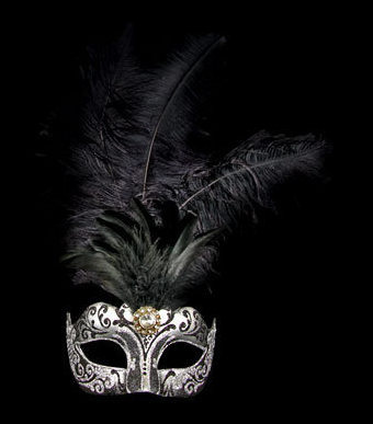 Stella Feather Venetian Masquerade Mask - Silver Black
