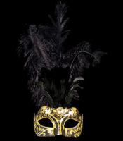 Stella Feather Venetian Masquerade Mask - Gold Black