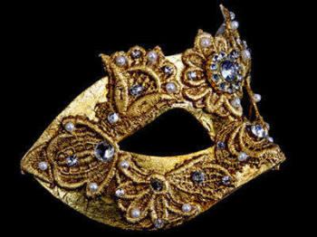 Macrame Luxury Venetian Masquerade Ball Mask - Gold