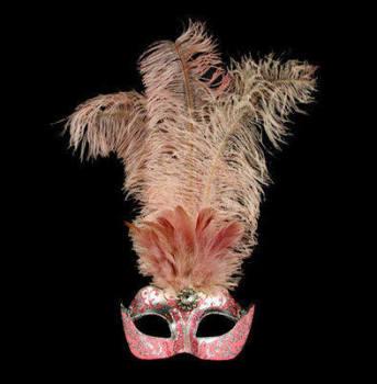 Stella Feather Venetian Masquerade Mask - Pink Silver