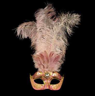 Stella Feather Venetian Masquerade Mask - Pink Gold