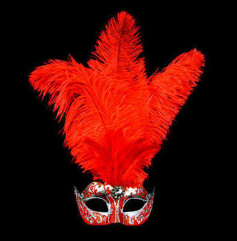 Stella Feather Venetian Masquerade Mask - Red Silver