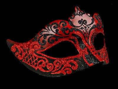 Stella Masquerade Mask - Black Red