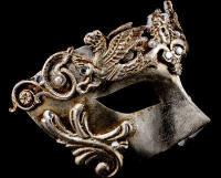 Grifone Luxury Venetian Masquerade Ball Mask - Silver