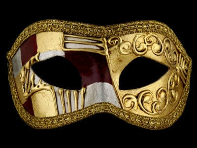Art Deco Masquerade Mask - Red