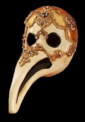 Plague Doctor Masquerade Mask - Macrame Gold