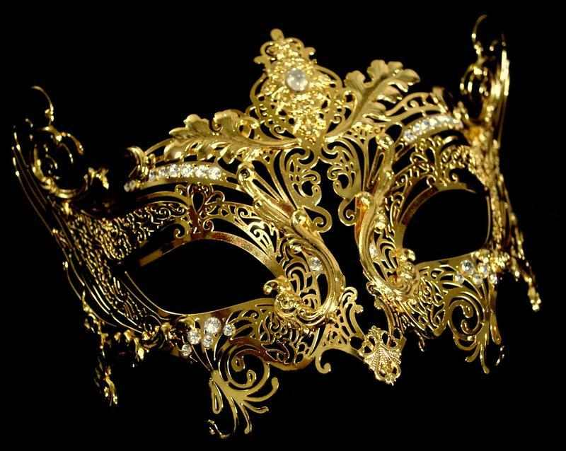 Gold Filigree Venetian Masquerade Mask For Masked Balls Image
