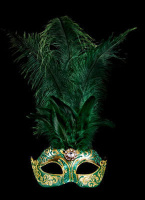 Stella Feather Masquerade Mask - Green Gold