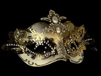 Pure Indulgence Venetian Filigree Masquerade Mask - White