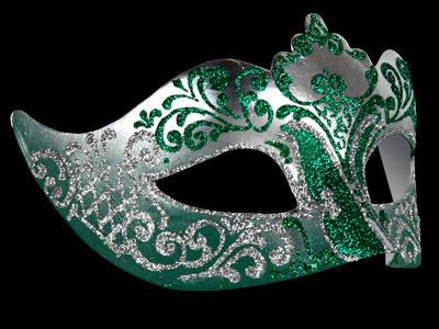 Vintage halloween decorations - Stella Venetian Masquerade Mask For Women Silver Green