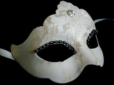 Madam Ducale Lace Luxury Masquerade Ball Mask - White