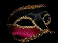 Velluto Venetian Masquerade Masks - Black And Red