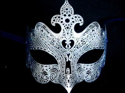 Fantasia Lady Filigree Masquerade Mask - Silver / Blue