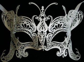 Deluxe Butterfly Venetian Filigree Masquerade Mask - White