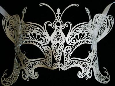 Deluxe Butterfly Venetian Filigree Masquerade Mask - White
