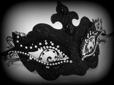 Pure Indulgence Filigree Masquerade Mask - Black