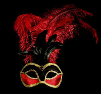 Velluto Feather Venetian Masquerade Mask - Black And Red