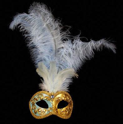 Mezza Venetian Feather Masquerade Mask - Sky Blue