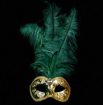 Mezza Venetian Feather Masquerade Mask - Green