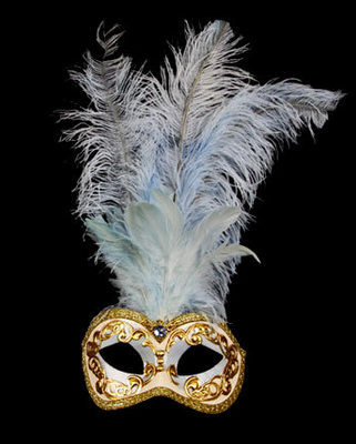 Occhi Feather Masquerade Mask - Sky Blue