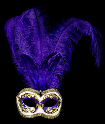 Occhi Feather Masquerade Mask - Purple