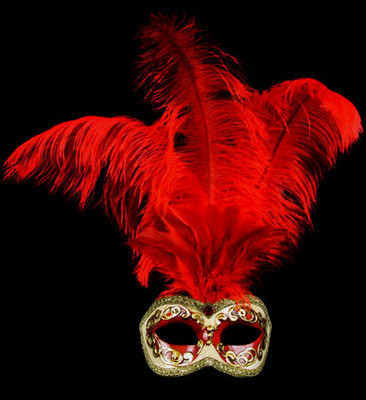 Occhi Feather Masquerade Mask - Rosso Red