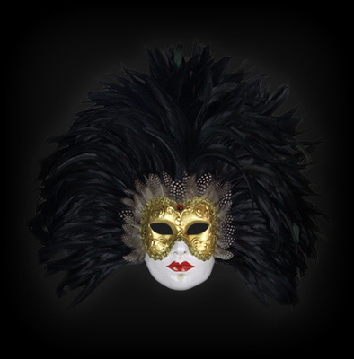 Eyes Wide Shut Feather Masquerade Mask - Black