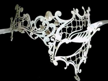Occhialino Venetian Filigree Mask - Pure White