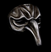 Pulcinella Full Face Masquerade Mask - Iron