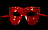 Vampire Venetian Leather Masquerade Mask - Red