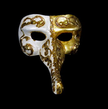 Nasone Masquerade Mask - Gold & White
