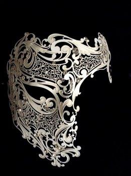 Deluxe Phantom Filigree Masquerade Mask - Antique White