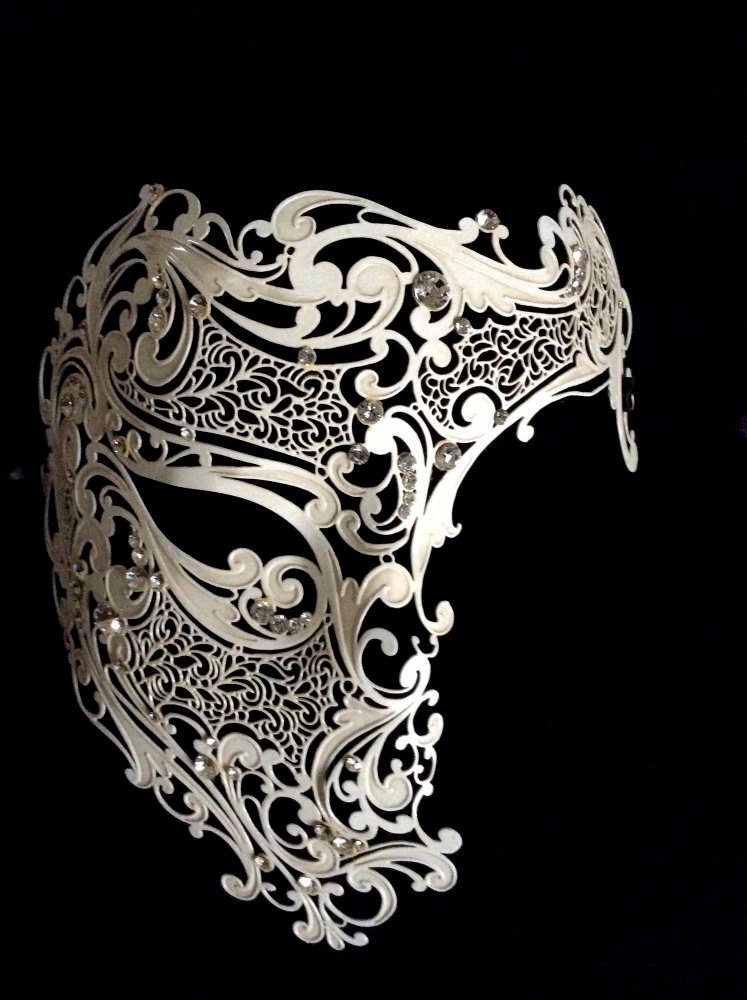 Deluxe Phantom Filigree Masquerade Mask - Antique White